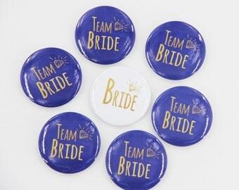 Rustic Wedding, Team Bride Pins, Diamond Button, Navy blue, Chalkboard Badge, Wedding Name Pin, Bride Button, Hen Night, Bachelorette Party