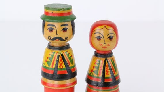 "Vintage wooden Toy ""old couple""-rare fund vintage toys folklore"