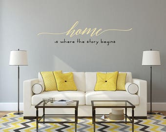 Home is where the story begins Multi-Colored Home and Family Vinyl Wall Quote