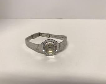 Vintage Art Deco Sheffield Watch Bracelet Crystal Face, 1970's Sheffield Womans Watch, Swiss Made