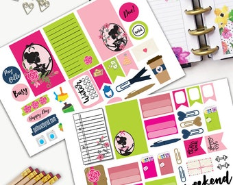Girl Silhouette Theme Planner Weekly Sticker SMALL Kit, CLASSIC Happy Planner Sticker, Weekly Set, Stickers, Printed, Cut, Pink, Cameo