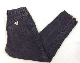 80s Guess High Waisted Jeans, Black, Stonewash, Mom Jeans, High Waist, Zip Ankle , Size 30