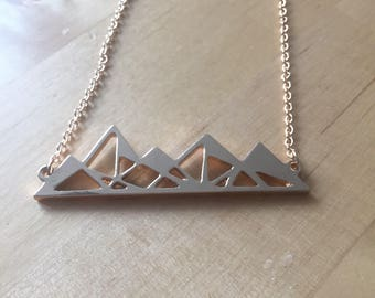 Mountains ain't no mountain necklace chain Gold Origami Valentine's Day gift for her present mountain peak travel gift