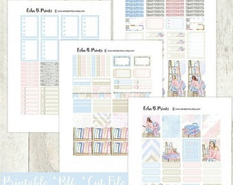 Bookworm Printable Planner Stickers/Weekly Kit/For Use with Erin Condren/Cutfile Fall September Glam Book Reading Library Glitter Glam Cozy