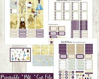 Tale as old as Time Printable Planner Stickers Light/ Beauty and the Beast/ weekly kit/For Use with Erin Condren/Fall Disney Glam Glitter