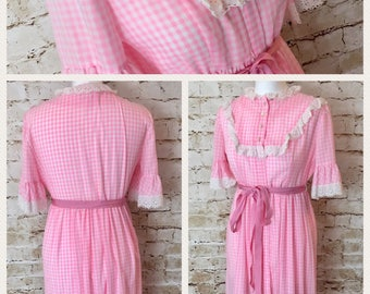 Long 1940's pink gingham dress