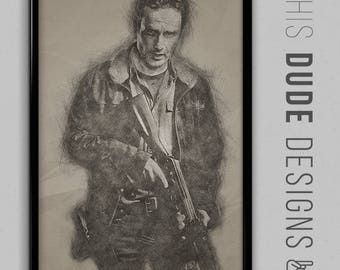 "SALE | Rick Grime The Walking Dead Original Digital Poster *Enter ""DUDESAVE15""  on checkout for 15% off"