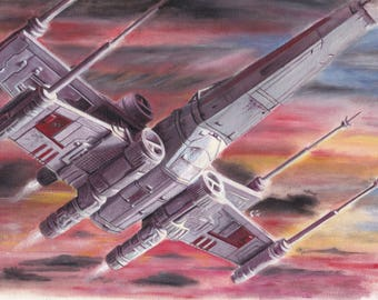 Star Wars Art - X Wing Sunset - Framed Oil painting - Ready to hang 44x35cm