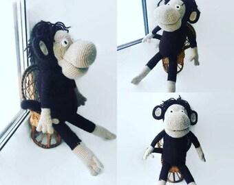 Crochet Monkey Toy, Cute Monkey, Knitted Toy, Stuffed Animal, Amigurumi Toy, Knit Toy, Plush Doll, baby monkey, Knit Toy, Crochet Doll