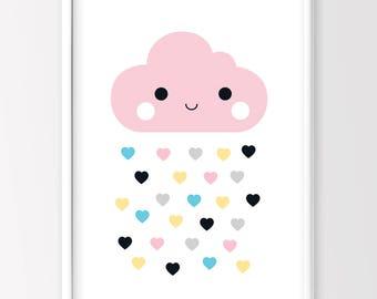 Cloud Print, Nursery Decor, Kids Room Decor, Kids Printable Art