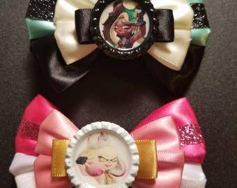 Marina and Pearl Splatoon inspired hair bow