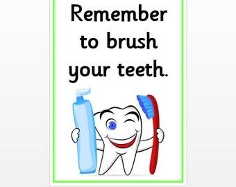 Bathroom Signs Brush Your Teeth brushing teeth | etsy