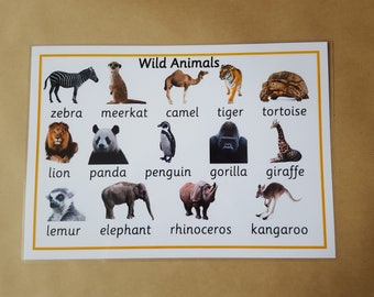 Animals Poster - Laminated A4 Poster, wild animals,  Early Learning, Teaching Resource, Educational Resource, Learning, home schooling