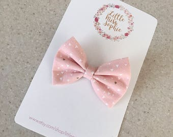 Pink & White classic bow