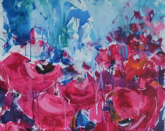 original acrylic painting ink poppy red roses