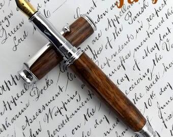 English Brown Oak Easebourne Fountain Pen in Chrome (698)