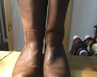 mens brown leather engineer /motorcycle boots  size 9.5