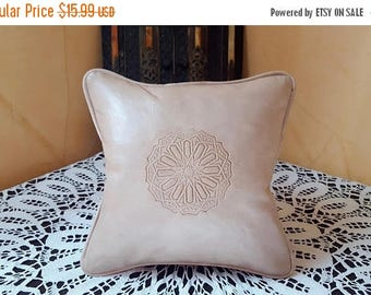 Moroccan leather pillow  handmade leather Pillows cream