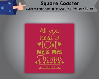 All You Need Is Love Mr & Mrs Thomas Date Square Coaster Wedding Single Side Print (C-W8)