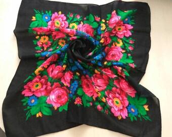 SALE  Vintage russian shawl, Russian Scarf ,Fussian shawl, Floral scarf, Head scarf, Black Shawl, yellow shawl, Babushka Russian