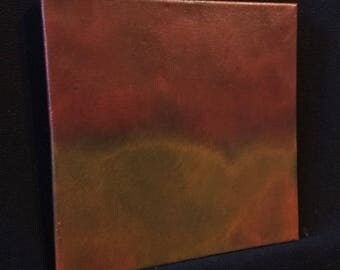 Ambient Painting #34 (Hokander) - square acrylic dark red ochre non-objective