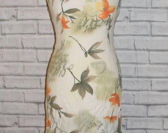 Size 8 vintage 80s double strap mini slip dress beige/orange floral print (HS45)