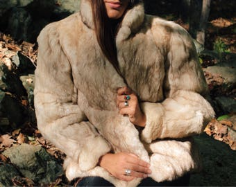 Vintage 70s 80s Chubby Genuine Natural Rabbit Fur Coat