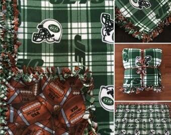 LARGE NY Jets NFL Handmade Fleece Tie Blanket | 55x65 | New York Jets Football Blanket | Ny Jets Blanket Football Fan