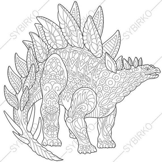 Adult Coloring Pages Dinosaur Stegosaurus Zentangle Doodle For Adults Digital Illustration Instant Download Print