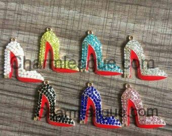 6pcs Clear Rhinestone Red Bottom High Heel Shoe Charms