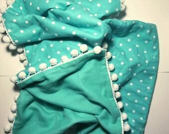 Mint Polka Dot Flannel Swaddle Blanket