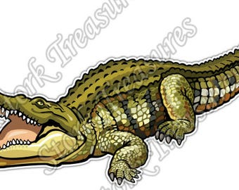 Crocodile Alligator Reptile Abstract Car Bumper Vinyl Sticker Decal