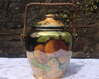 Lustreware Biscuit Barrel, Peaches design