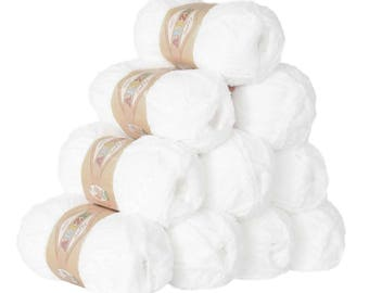 10 x 50 g soft yarn fluffy wool SOFTY by ALIZE No. 450 white