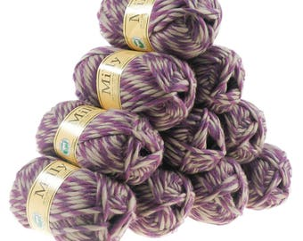 10 x 50g (= 500g) wool milly #9236 Beige-blackberry, wool for knitted felt
