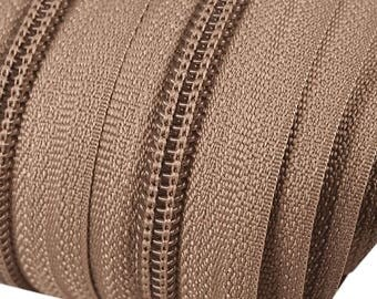 6m of endless zipper 5mm with 15 zippers and tails 293 Acorn colours