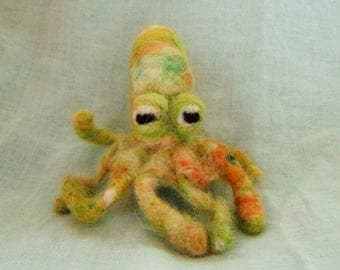 Octopus| Needle Felt Octopus, Needle Felt Animal, Soft Octopus, Sea Creature, Cute Octopus, Felt Miniature, Under the Sea, Soft Sculpture.