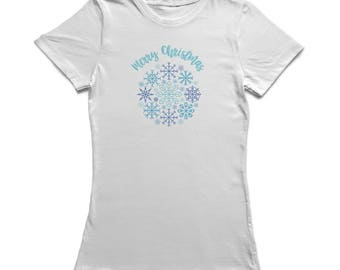 Merry Christmas Snowflakes Collage Graphic  Women's White T-shirt