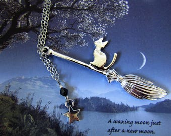 Cat on a Broom Necklace, Witchy Necklace, Halloween Necklace, Cat Necklace, Pagan, Wicca jewellery, Witch Jewellery, Cat on a Broom