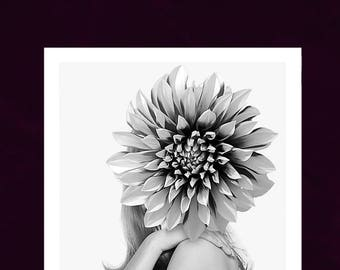 Eva - Flower Woman Art Print, Surreal Collage Art Print Poster Fashion Giclee, art prints
