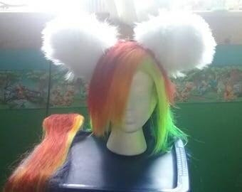Rainbow wig, tail and white handmade ears