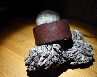 Brown smooth leather bracelet/cuff