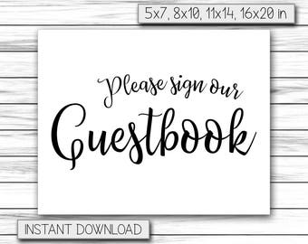 Wedding Guestbook Sign, Please Sign Our Guestbook Sign, Guestbook Board, Printable Wedding Decor, Chalkboard Sign, Printable DIGITAL FILE