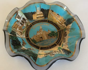 Vintage Disneyland Sleeping Beauty Castle Frontierland Fantasyland Tomorrowland  New Orleans Square Ruffled Tinted Glass Dish