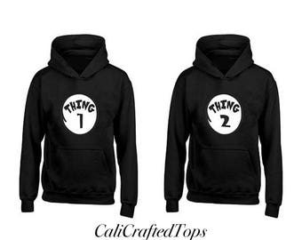 Thing 1 Thing 2 Couple Hoodies, Anniversary, Gift, Matching Hoodies, 2 Hoodies