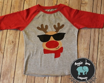 Kids Christmas Shirt, Reindeer Shirt, Rudolf Shirt, Youth Christmas Shirt, Christmas Shirt, Holiday Shirt, Christmas Tee
