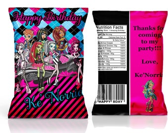 Monster High party favor, Monster High chip bag, Monster High birthday party---DIGITAL FILE ONLY!!!!