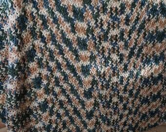 Hand Crochet afghan Hand crochet throw 64 inch by 70 inch crochet multi-color