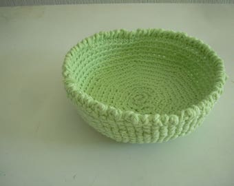 basket or bowl made in crochet, light green