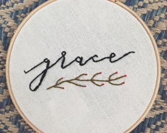 Grace 6 Inch Hand Embroidered Hoop